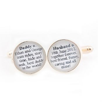 Dictionary Definition Cufflinks - Personalised Wedding Day Cufflinks, Father's Day or Anniversary Gift